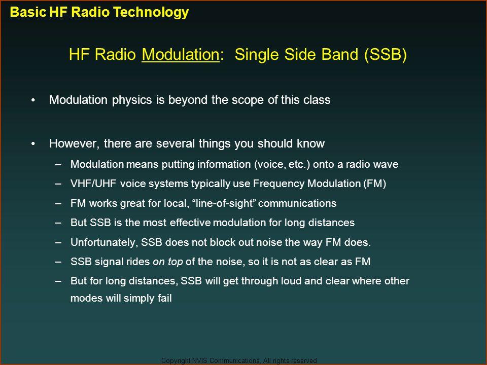 HF Radio Modulation: Single Side Band (SSB)