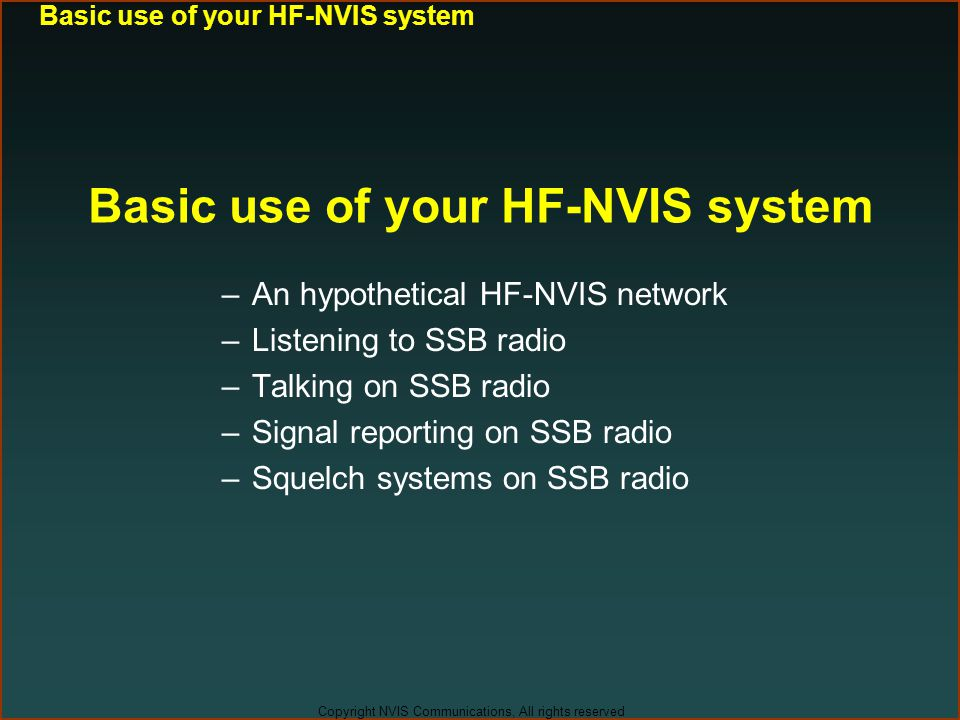 Basic use of your HF-NVIS system