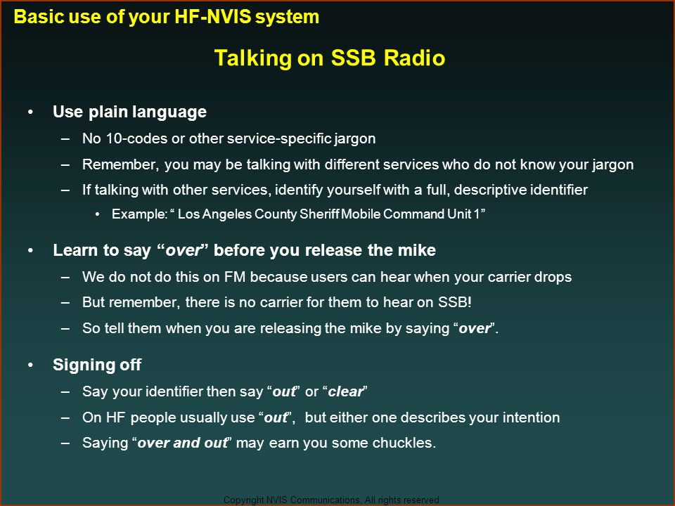 Talking on SSB Radio Basic use of your HF-NVIS system