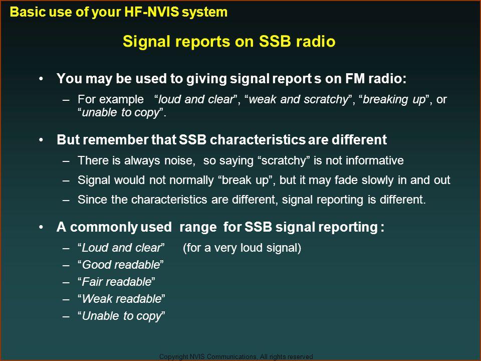 Signal reports on SSB radio