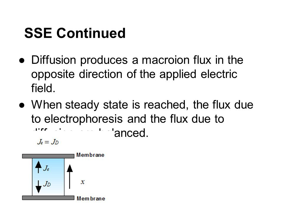 SSE Continued Diffusion produces a macroion flux in the opposite direction of the applied electric field.