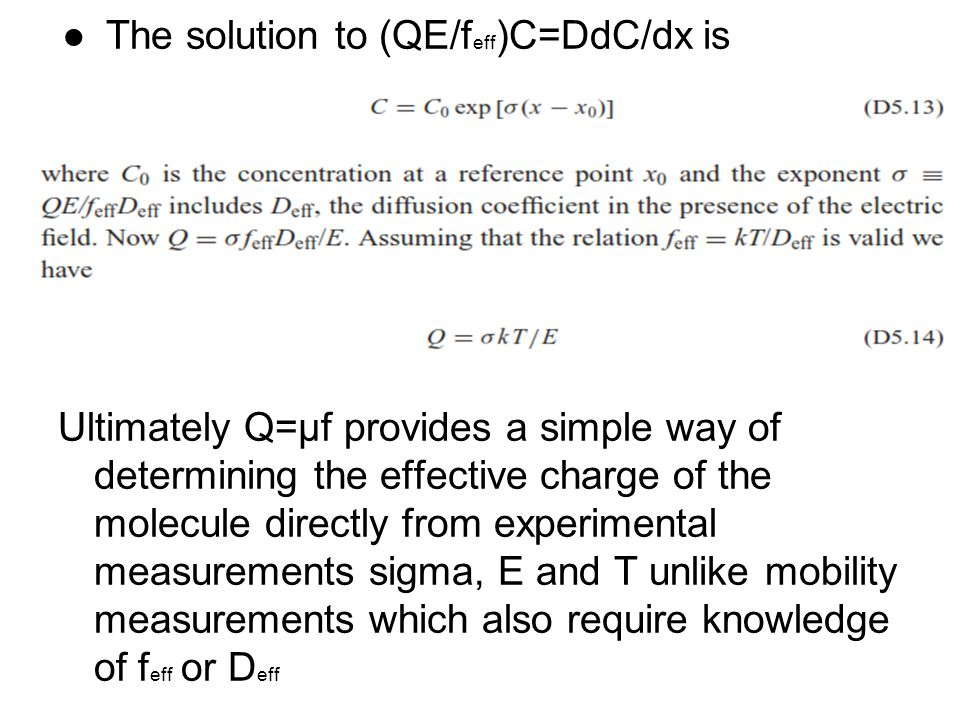 The solution to (QE/feff)C=DdC/dx is