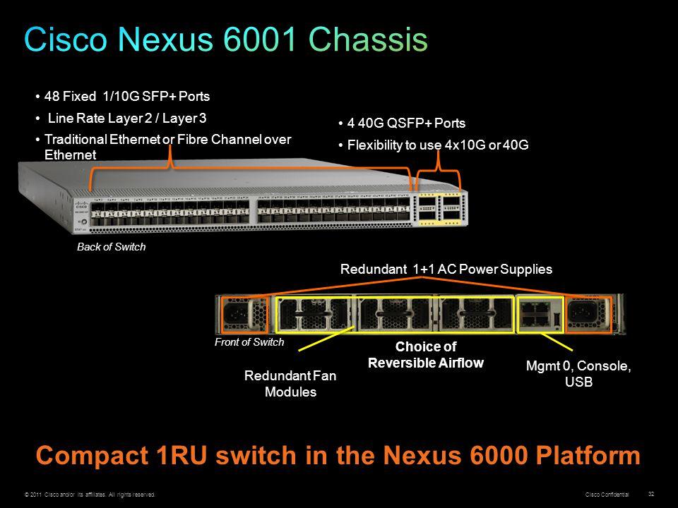 Cisco Nexus 6001 Chassis Compact 1RU switch in the Nexus 6000 Platform