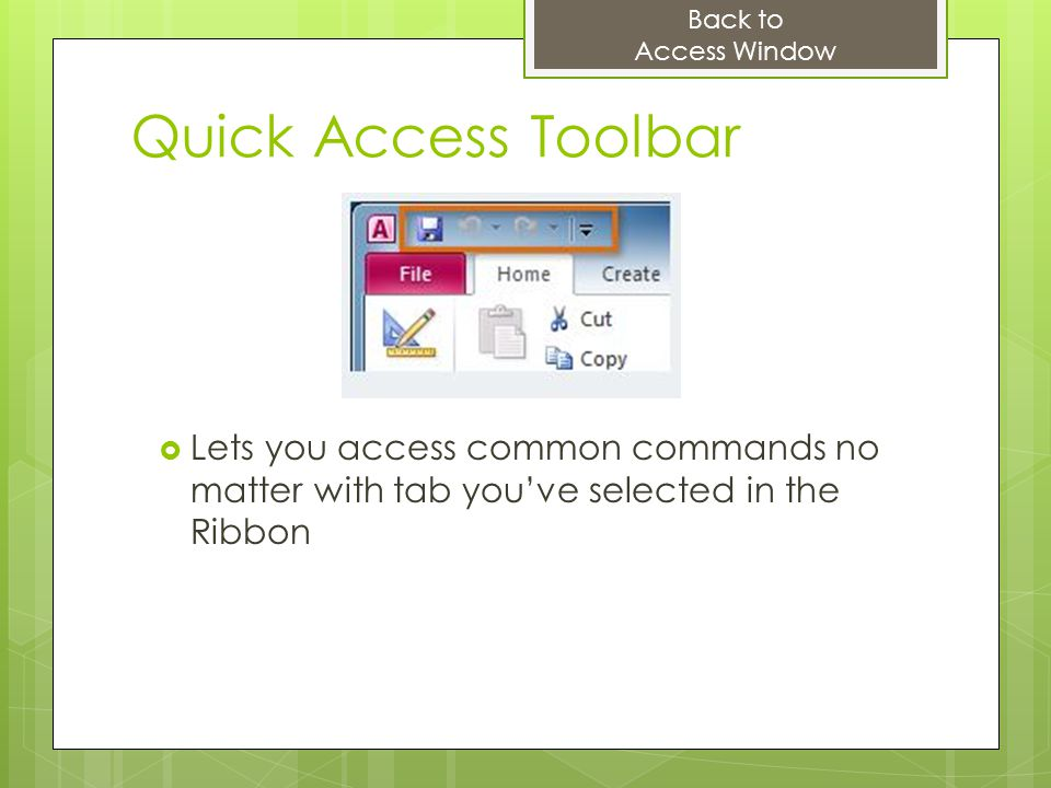 Back to Access Window. Quick Access Toolbar.