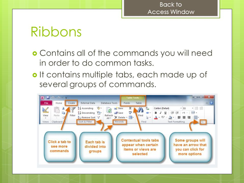 Back to Access Window. Ribbons. Contains all of the commands you will need in order to do common tasks.