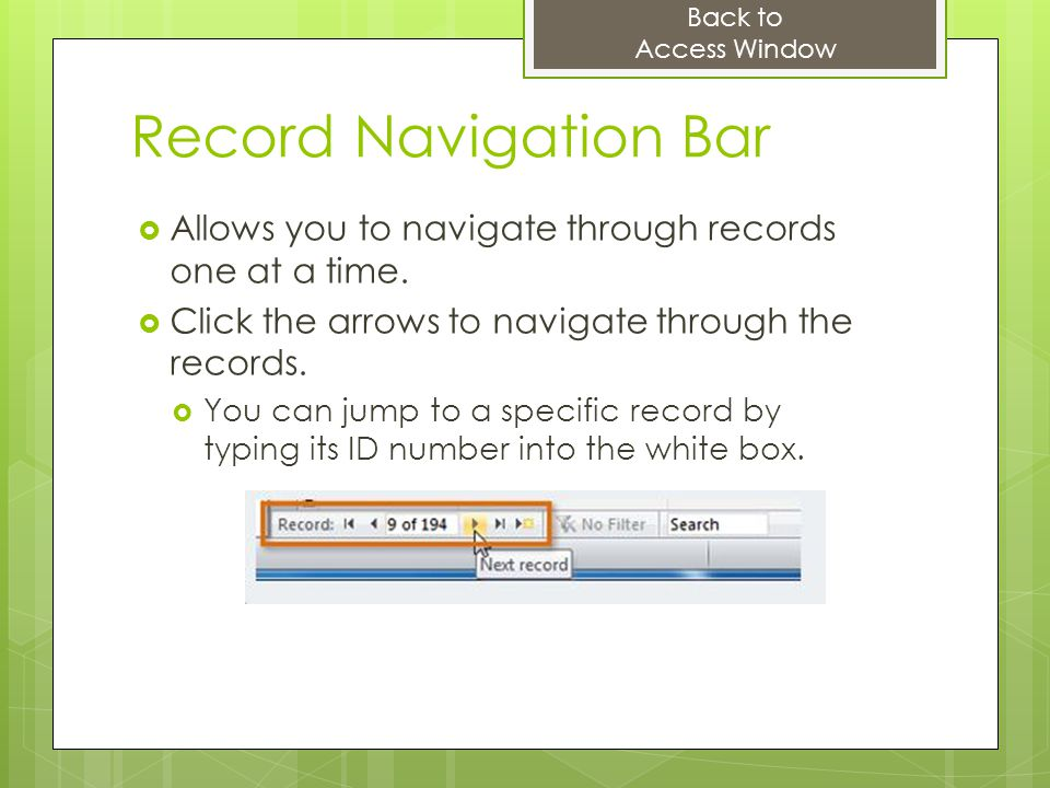 Back to Access Window. Record Navigation Bar. Allows you to navigate through records one at a time.