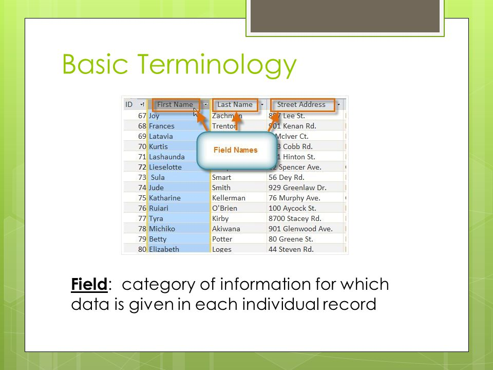Basic Terminology Field: category of information for which data is given in each individual record