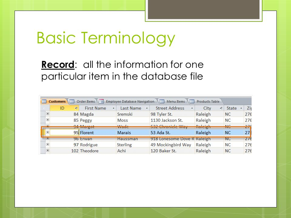 Basic Terminology Record: all the information for one particular item in the database file