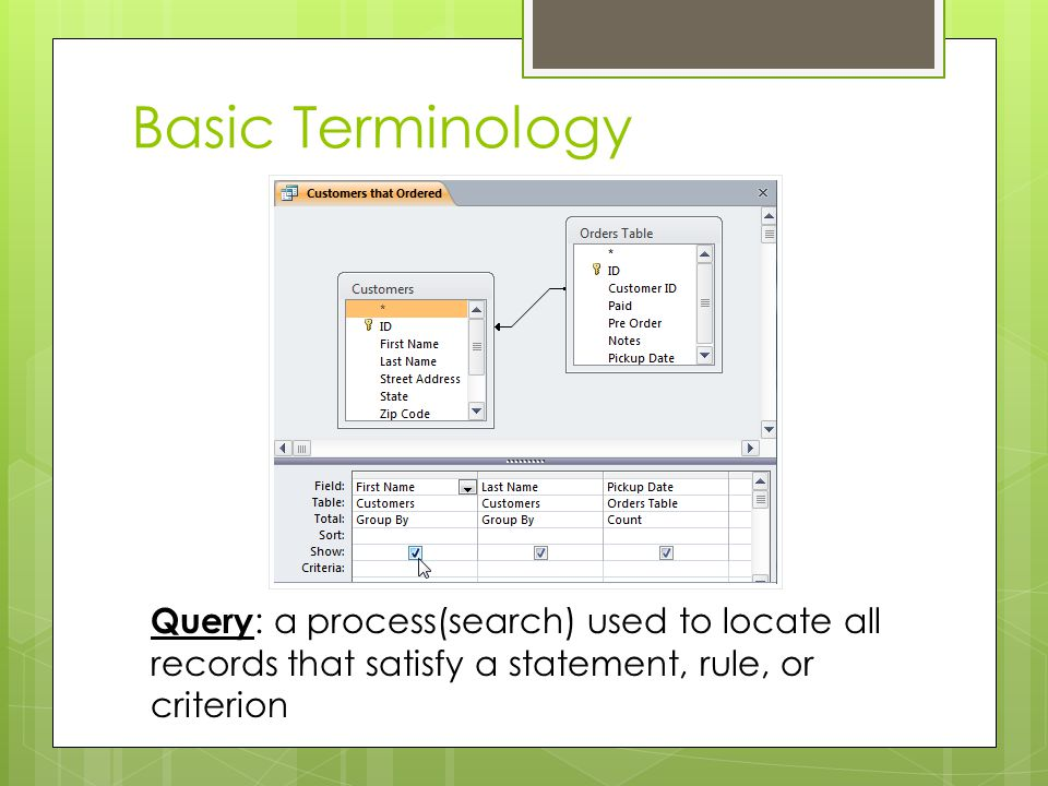 Basic Terminology Query: a process(search) used to locate all records that satisfy a statement, rule, or criterion.