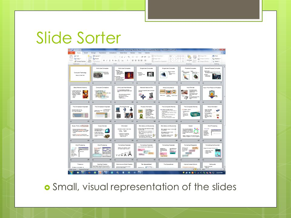 Slide Sorter Small, visual representation of the slides