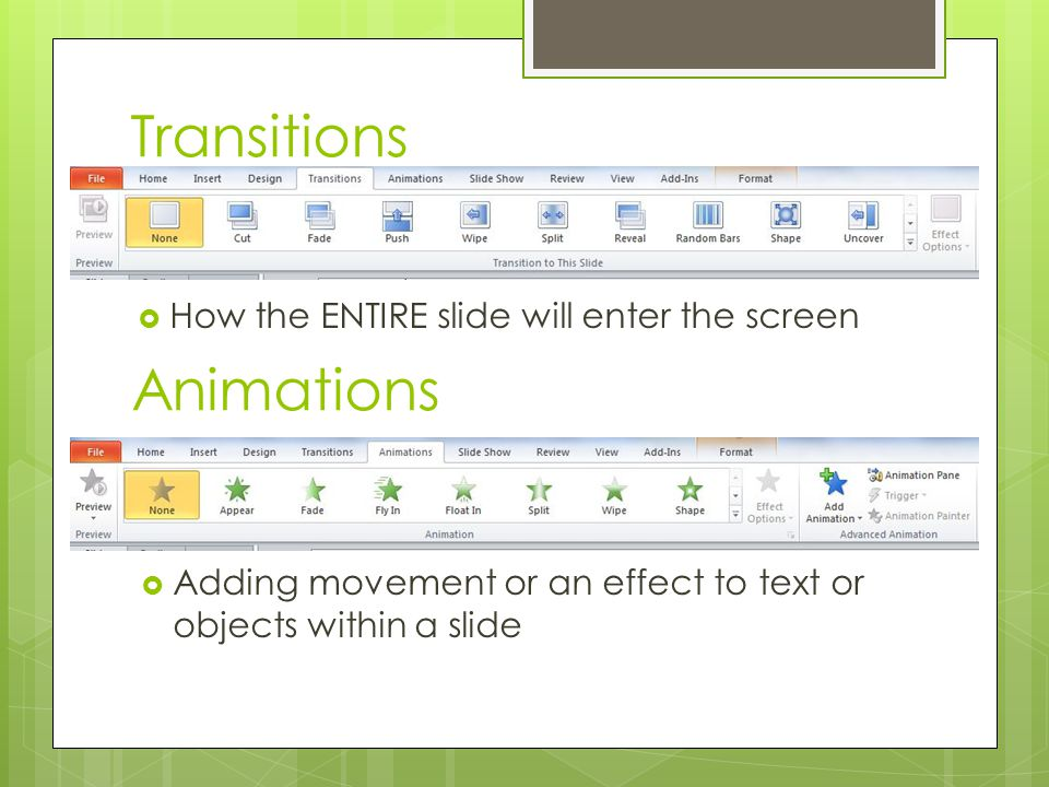 Transitions Animations How the ENTIRE slide will enter the screen