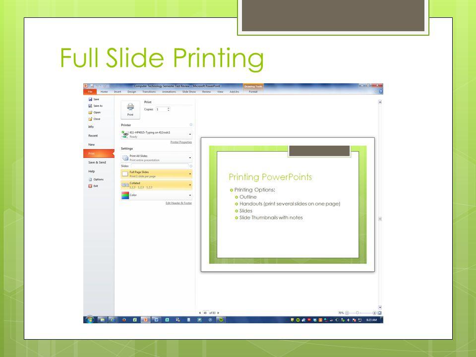 Full Slide Printing