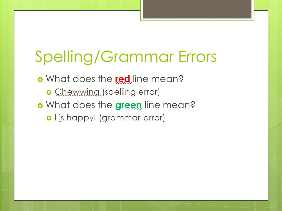 Spelling/Grammar Errors