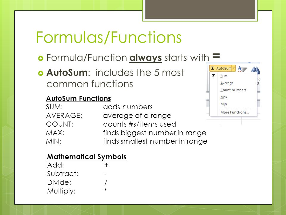 Formulas/Functions Formula/Function always starts with =