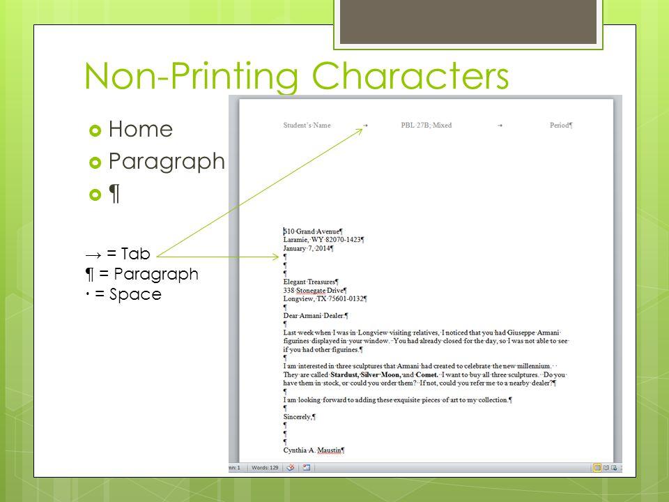Non-Printing Characters