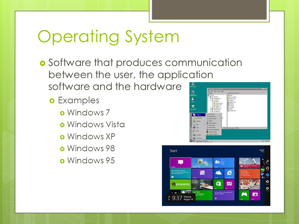 Operating System Software that produces communication between the user, the application software and the hardware.