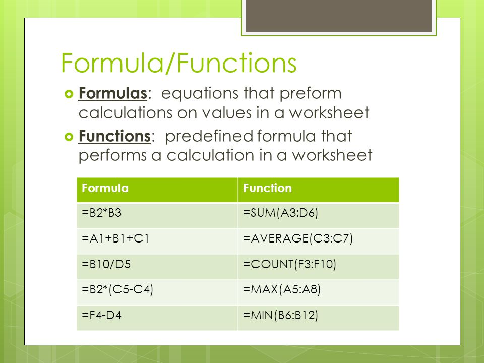 Formula/Functions Formulas: equations that preform calculations on values in a worksheet.