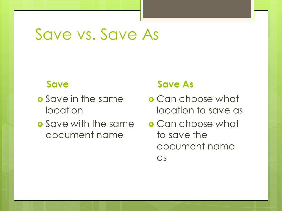 Save vs. Save As Save Save As Save in the same location