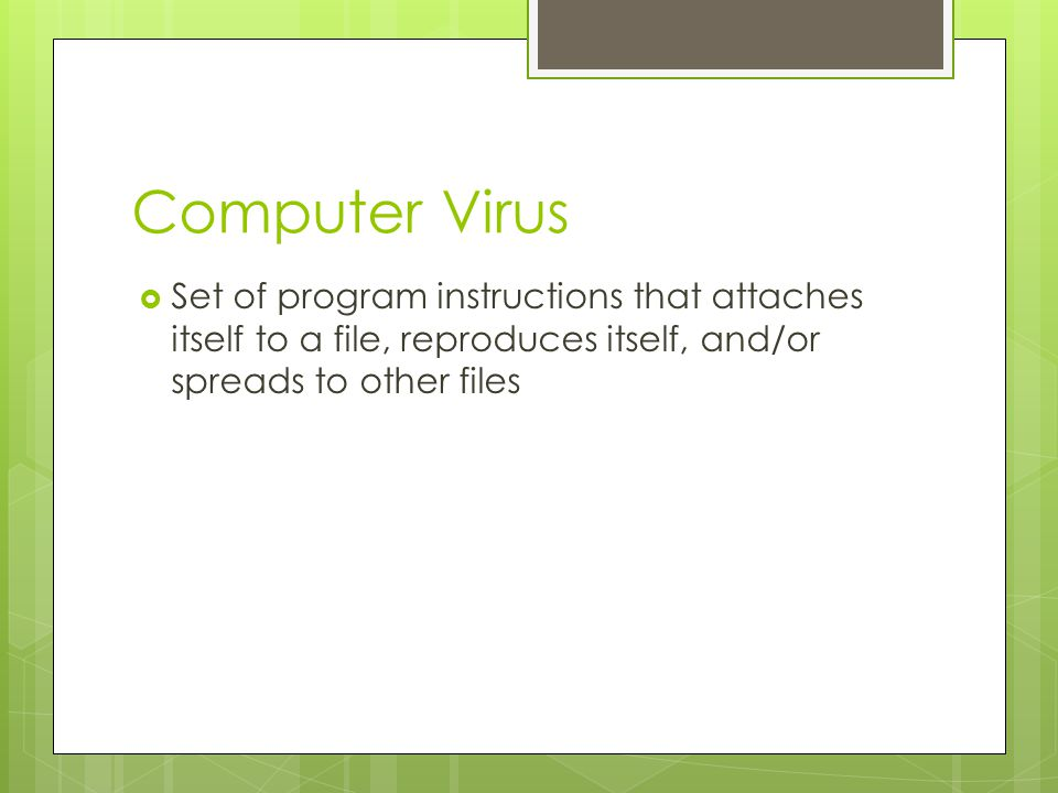 Computer Virus Set of program instructions that attaches itself to a file, reproduces itself, and/or spreads to other files.