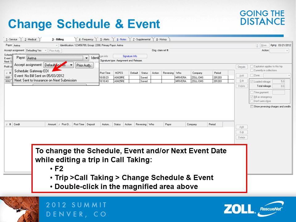 Change Schedule & Event
