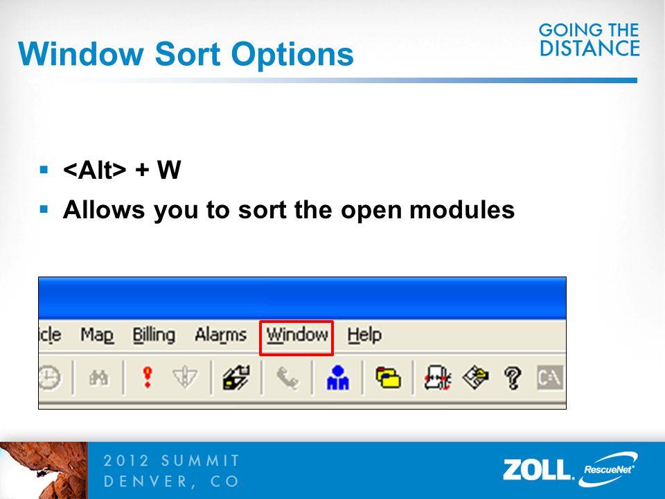 Window Sort Options <Alt> + W