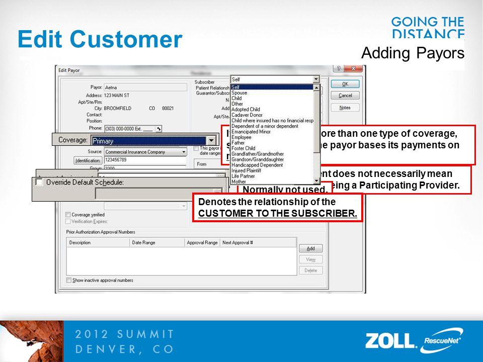 Edit Customer Adding Payors