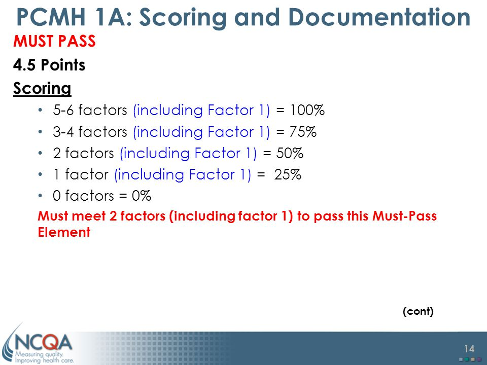 PCMH 1A: Scoring and Documentation