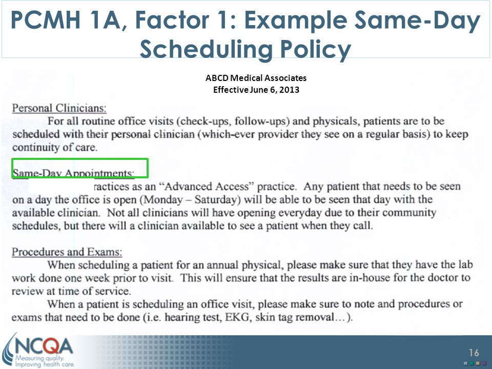 PCMH 1A, Factor 1: Example Same-Day Scheduling Policy