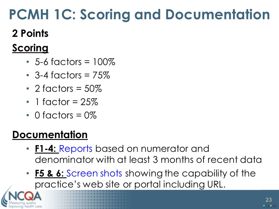 PCMH 1C: Scoring and Documentation
