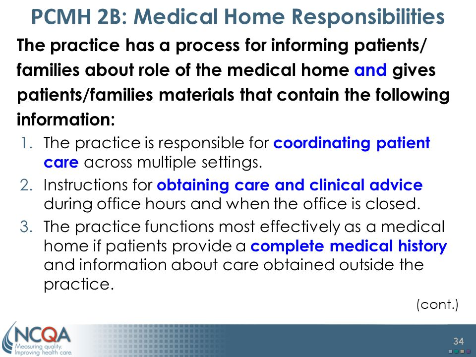 PCMH 2B: Medical Home Responsibilities