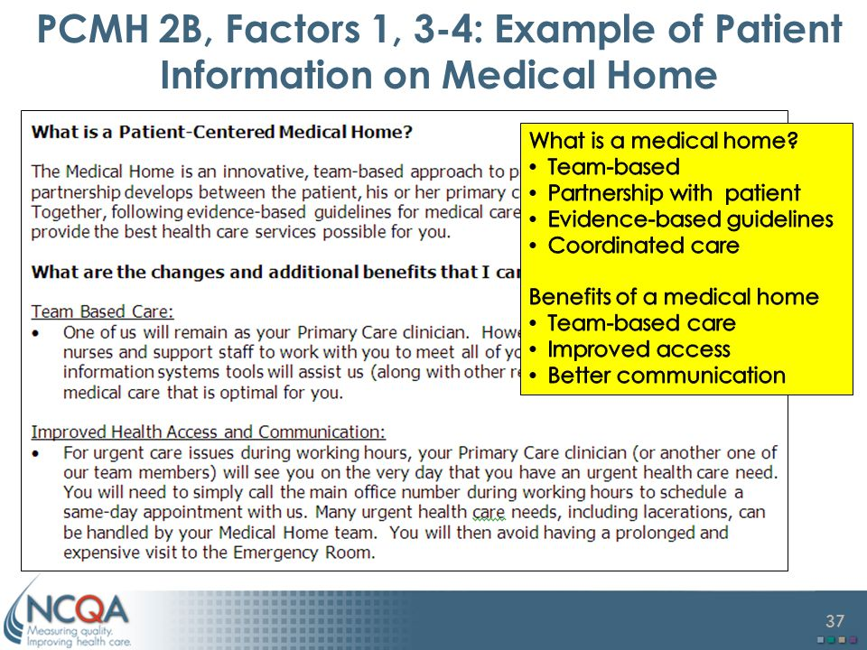PCMH 2B, Factors 1, 3-4: Example of Patient Information on Medical Home