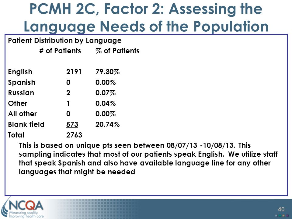 PCMH 2C, Factor 2: Assessing the Language Needs of the Population