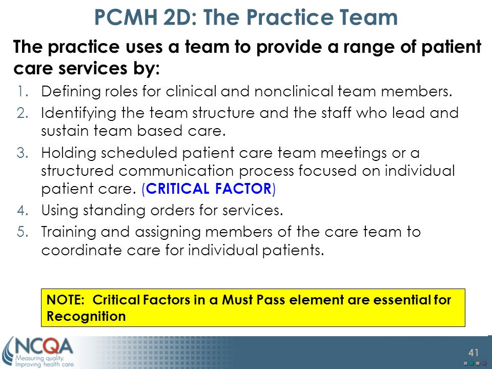PCMH 2D: The Practice Team