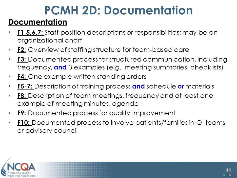 PCMH 2D: Documentation Documentation