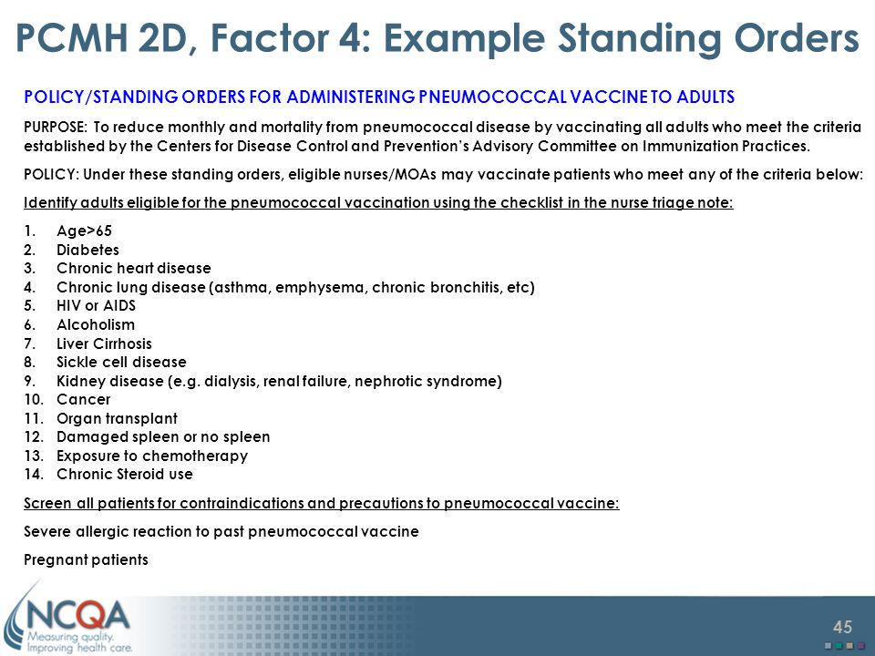 PCMH 2D, Factor 4: Example Standing Orders