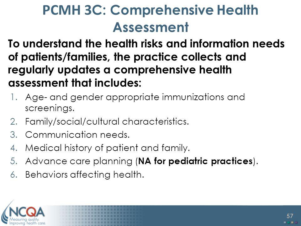 PCMH 3C: Comprehensive Health Assessment