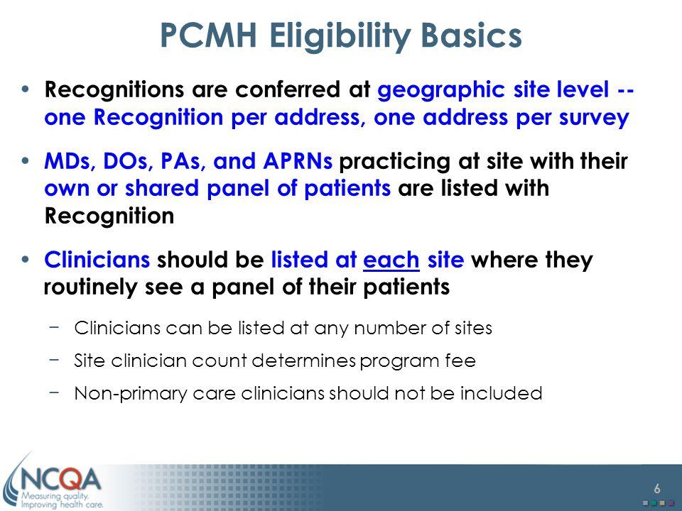 PCMH Eligibility Basics