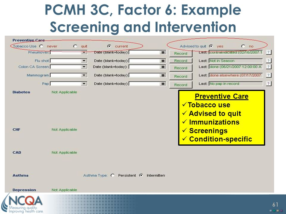 PCMH 3C, Factor 6: Example Screening and Intervention