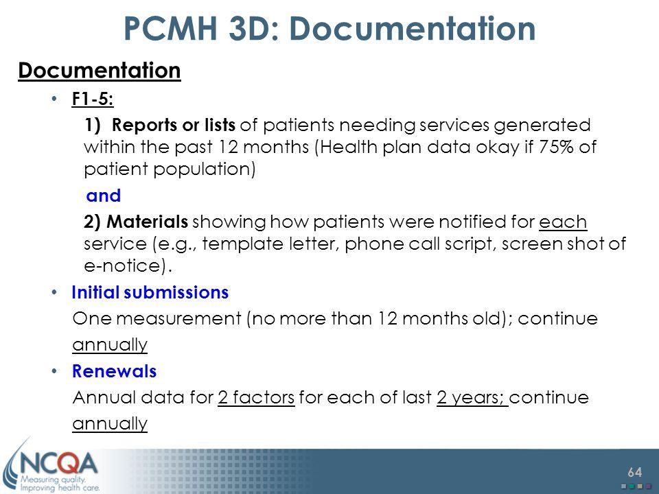 PCMH 3D: Documentation Documentation F1-5: