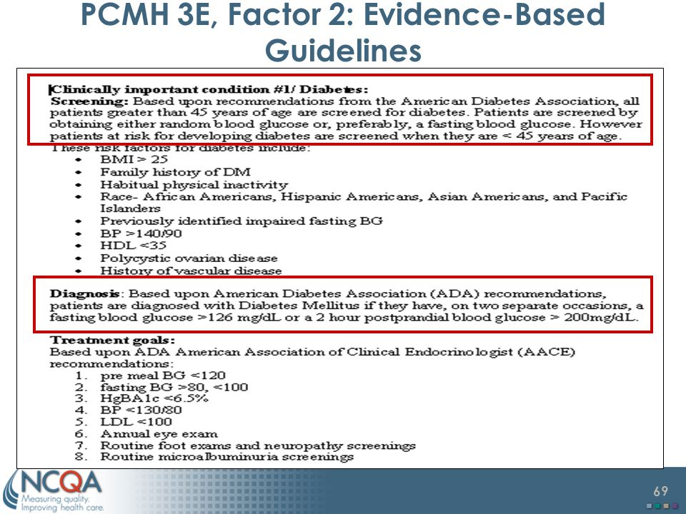 PCMH 3E, Factor 2: Evidence-Based Guidelines
