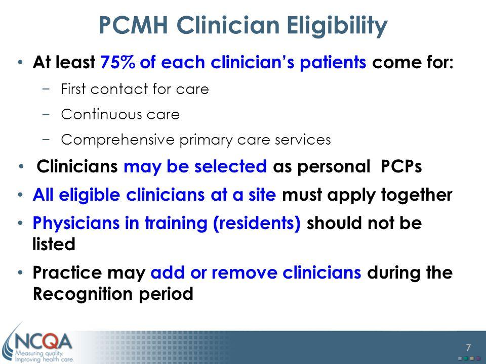 PCMH Clinician Eligibility