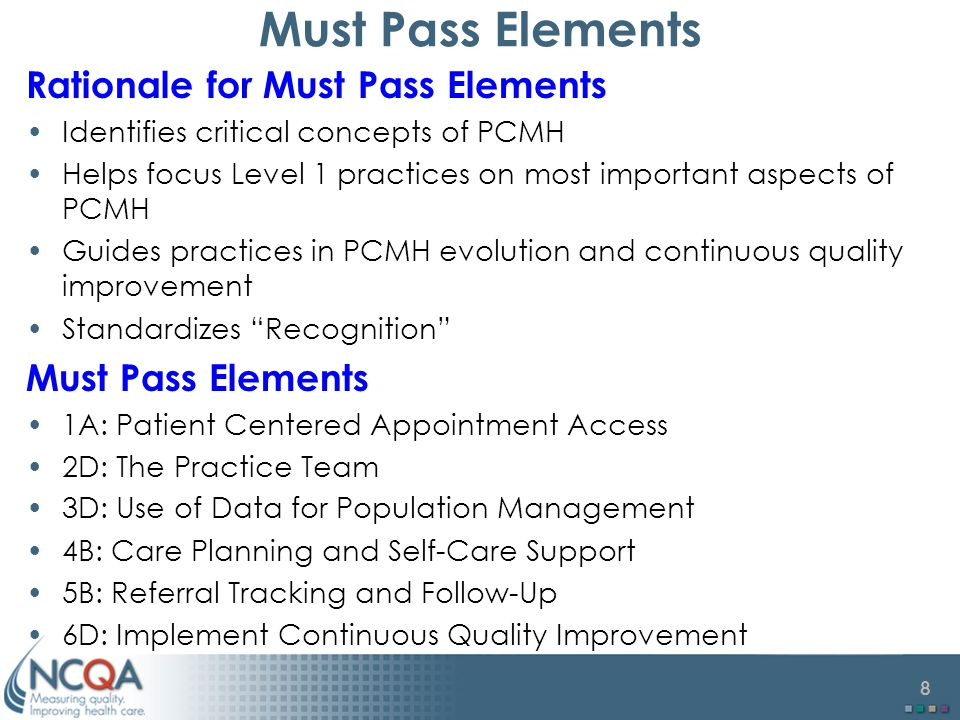 Must Pass Elements Rationale for Must Pass Elements Must Pass Elements