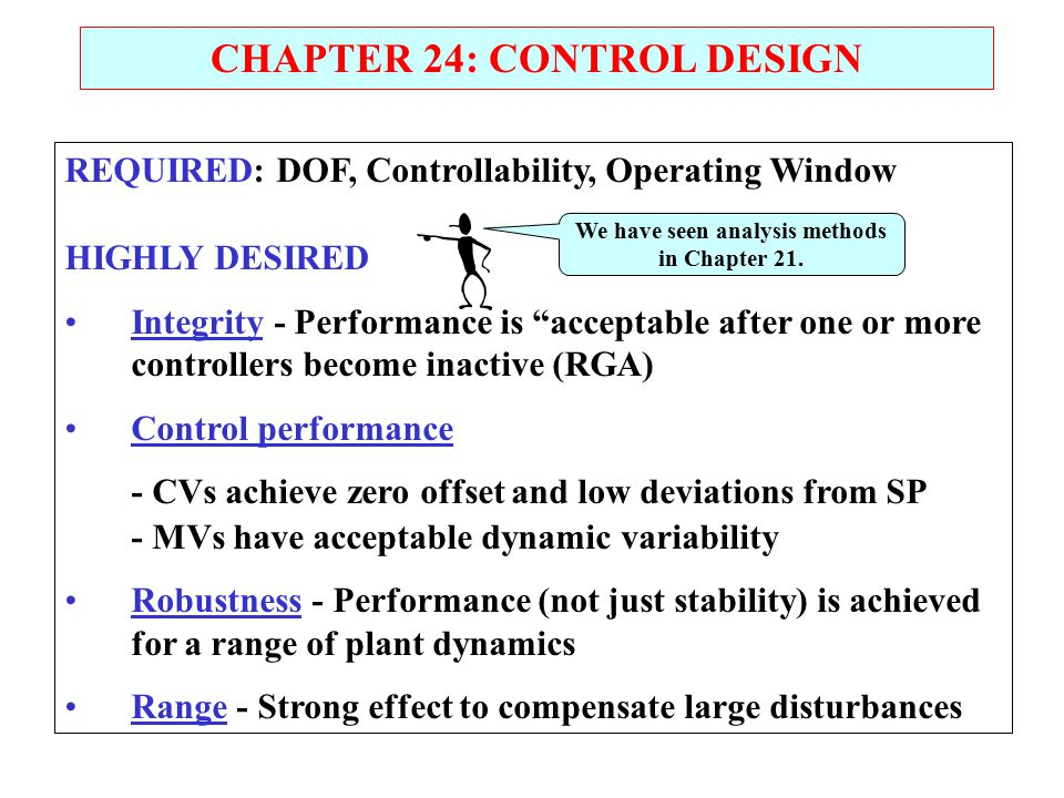 CHAPTER 24: CONTROL DESIGN We have seen analysis methods