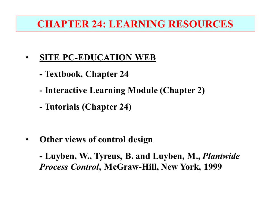 CHAPTER 24: LEARNING RESOURCES
