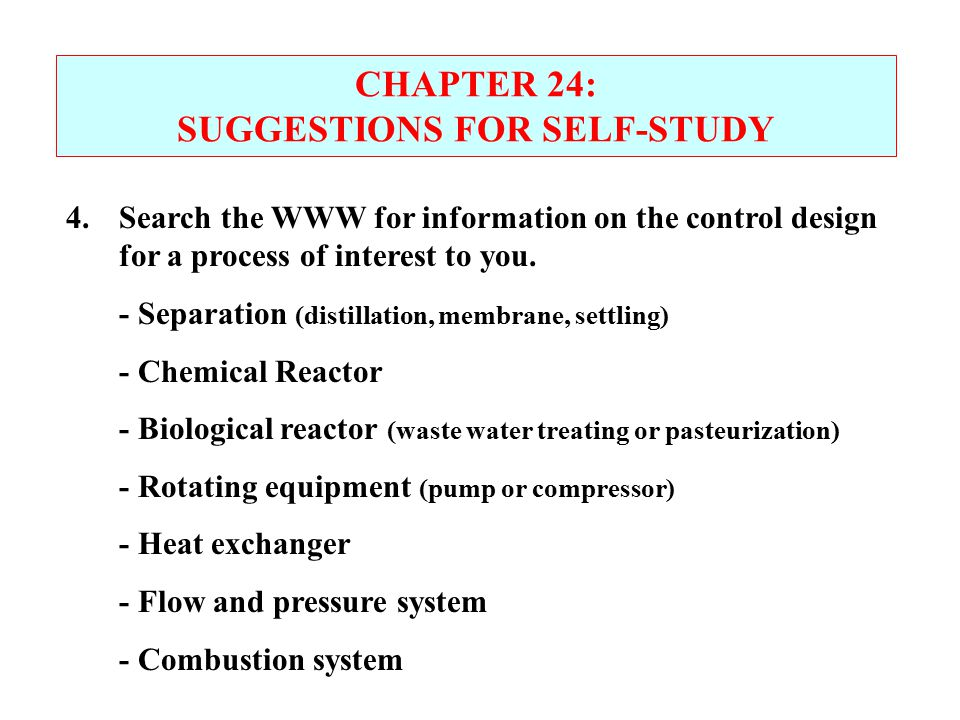 SUGGESTIONS FOR SELF-STUDY