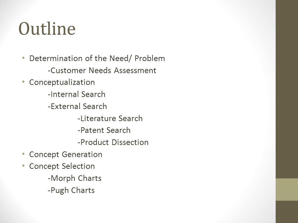 Outline Determination of the Need/ Problem -Customer Needs Assessment