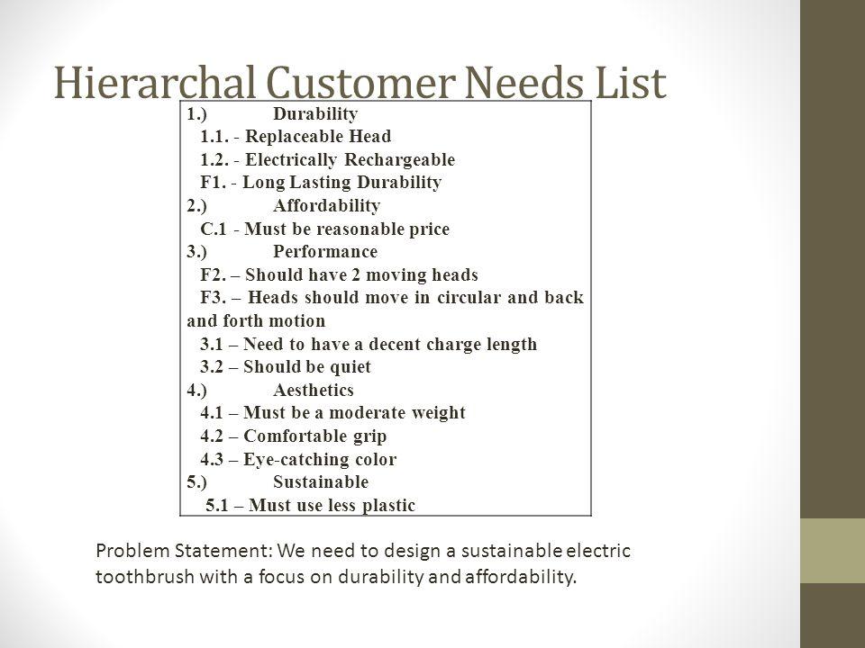 Hierarchal Customer Needs List