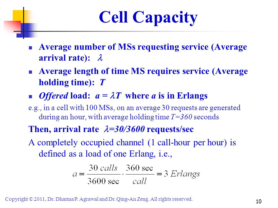 Cell Capacity Average number of MSs requesting service (Average arrival rate): 