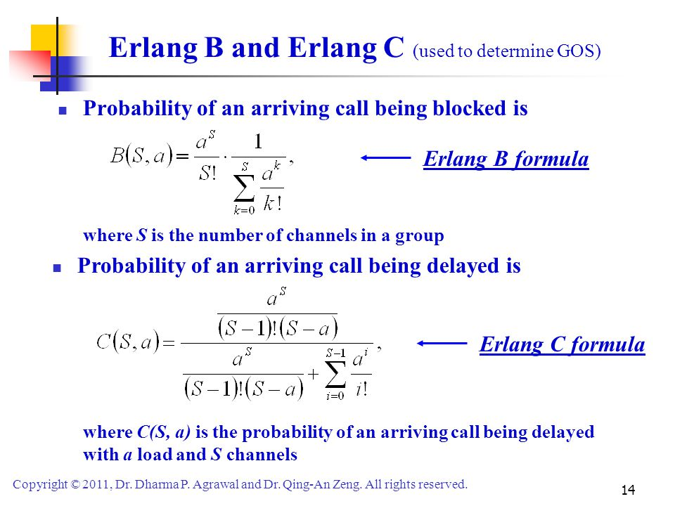 Erlang B and Erlang C (used to determine GOS)