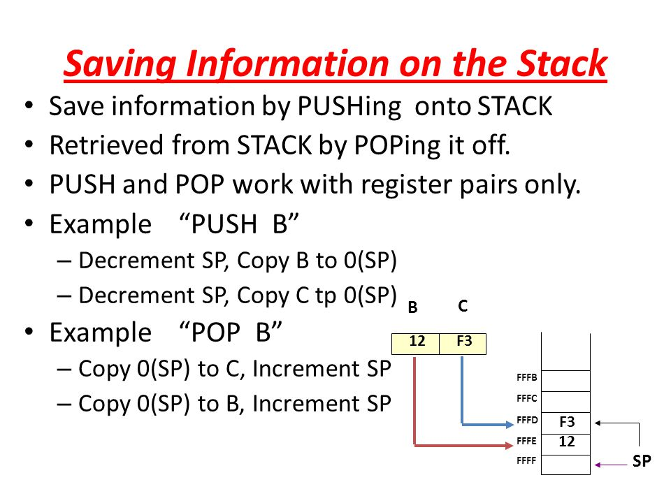 Saving Information on the Stack